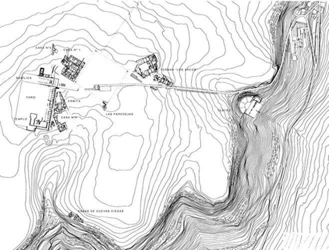 Plano ciudad romana de Clunia