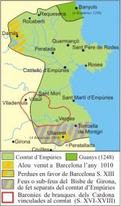 Mapa del condado de Ampurias