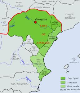 Mapa de la taifa de Zaragoza